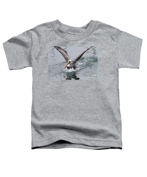 Brown Pelican Landing On Water . 7d8372 Toddler T-Shirt