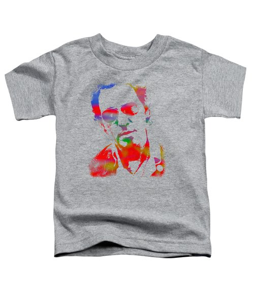 Bruce Springsteen Watercolor Portrait On Worn Distressed Canvas Toddler T-Shirt by Design Turnpike