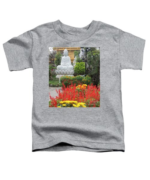 Buddha Red Flowers  Toddler T-Shirt