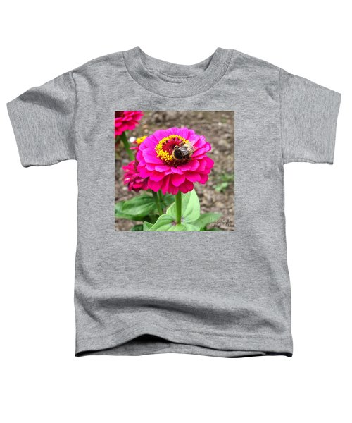 Bumble Bee On Pink Flower Toddler T-Shirt