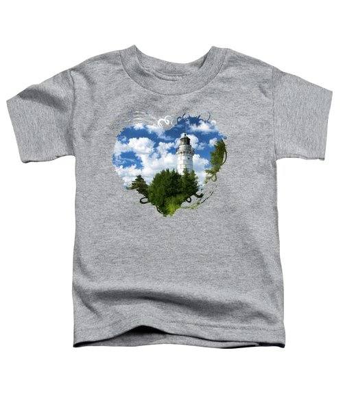 Toddler T-Shirt featuring the painting Cana Island Lighthouse Cloudscape In Door County by Christopher Arndt