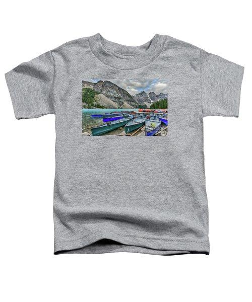 Canoes On Moraine Lake  Toddler T-Shirt