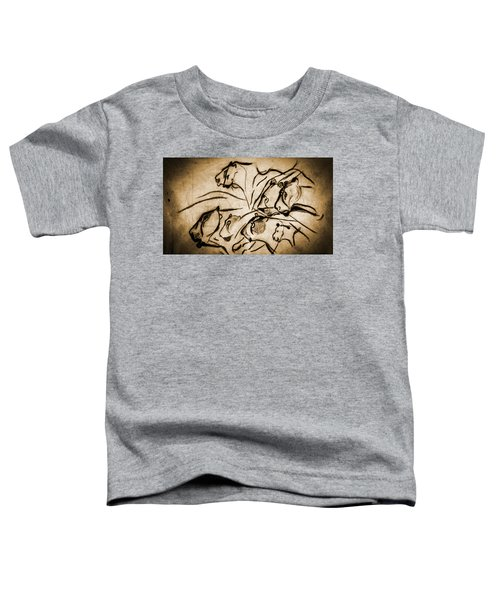 Chauvet Cave Lions Burned Leather Toddler T-Shirt