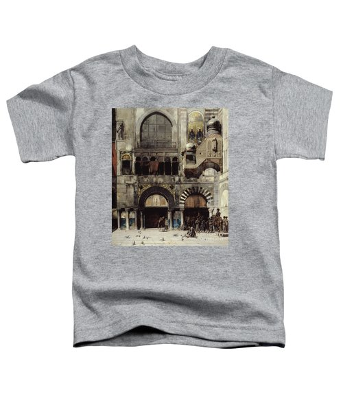 Circassian Cavalry Awaiting Their Commanding Officer At The Door Of A Byzantine Monument Toddler T-Shirt by Alberto Pasini