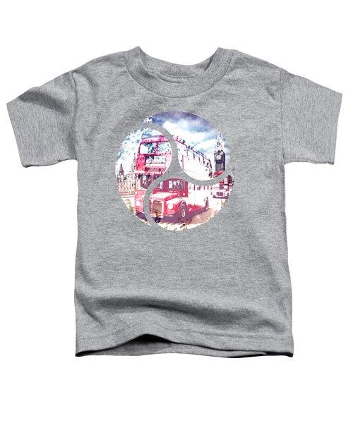 City-art London Red Buses On Westminster Bridge Toddler T-Shirt