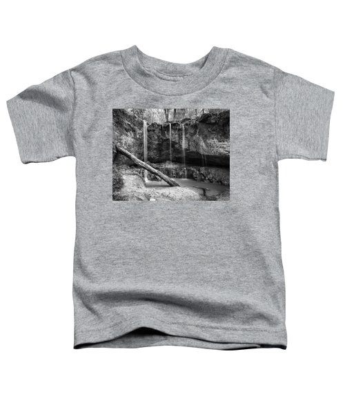 Clark Creek Nature Area Waterfall No. 2 In Black And White Toddler T-Shirt