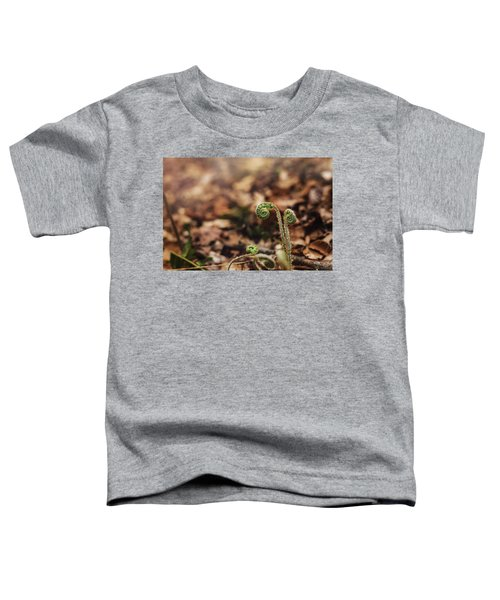 Coiled Fern Among Leaves On Forest Floor Toddler T-Shirt