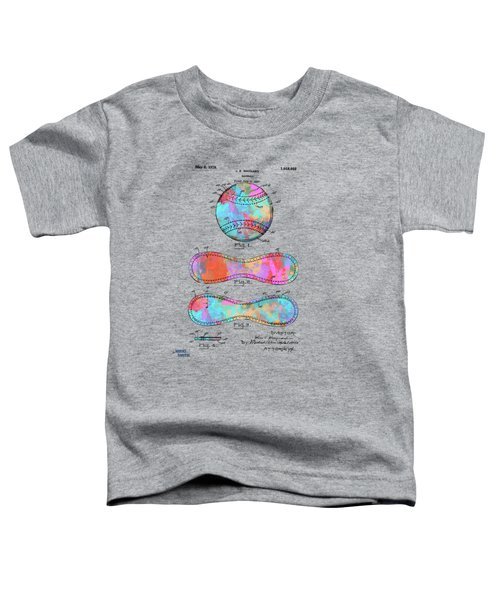 Colorful 1928 Baseball Patent Artwork Toddler T-Shirt