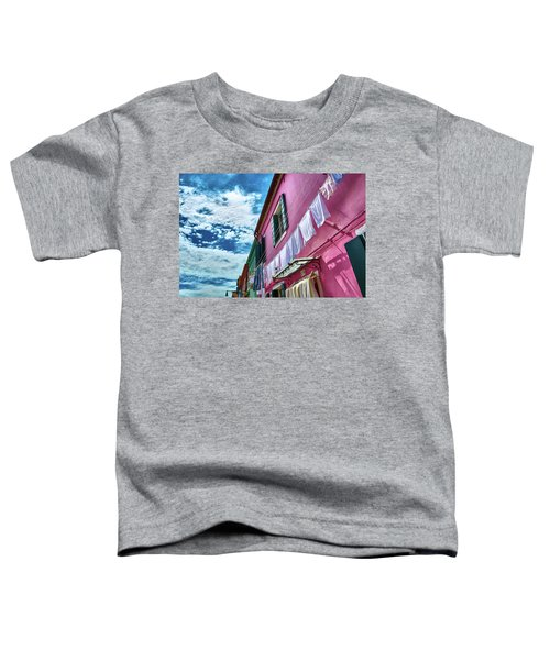 Colorful Facade With Laundry In Burano Toddler T-Shirt
