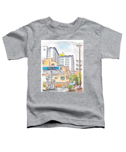Corner La Cienega Blvd. And Hallway, Chevron Gas Station, West Hollywood, Ca Toddler T-Shirt