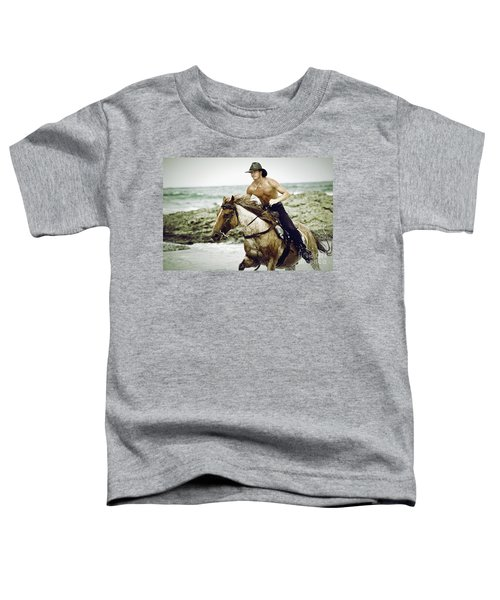 Cowboy Riding Horse On The Beach Toddler T-Shirt