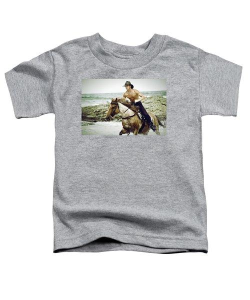 Cowboy Riding Horse On The Beach Toddler T-Shirt