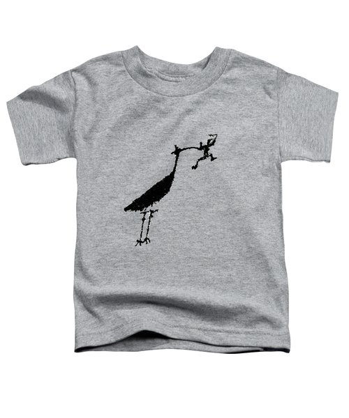 Crane Petroglyph Toddler T-Shirt by Melany Sarafis