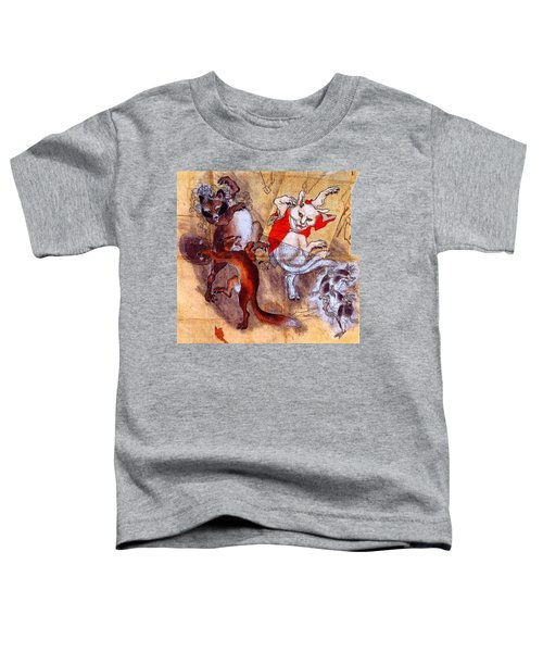 Japanese Meiji Period Dancing Feral Cat With Wild Animal Friends Toddler T-Shirt by Peter Gumaer Ogden Collection