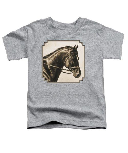 Dark Bay Dressage Horse Aged Photo Fx Toddler T-Shirt