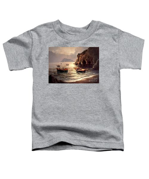Day's End And Work Begins In The Gulf Of Naples Toddler T-Shirt