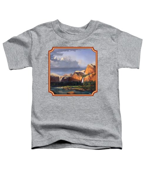 Deer Meadow Mountains Western Stream Deer Waterfall Landscape - Square Format Toddler T-Shirt