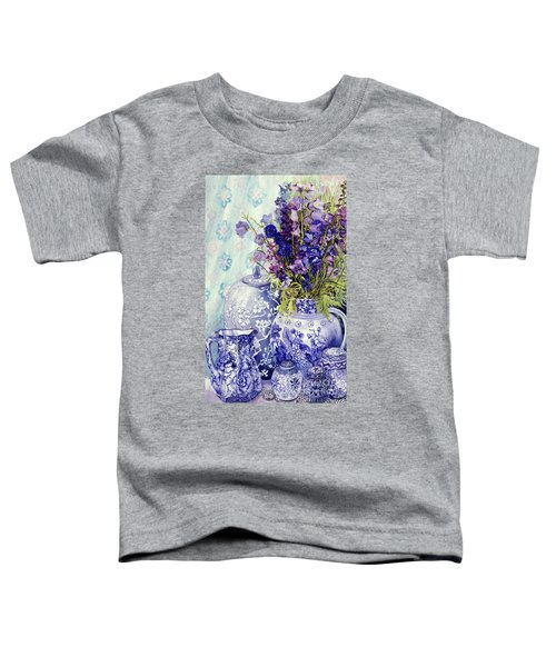 Delphiniums With Antique Blue Pots Toddler T-Shirt