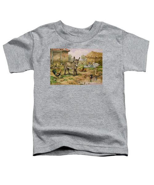 Donkey And Farmyard Fowl  Toddler T-Shirt by Carl Donner