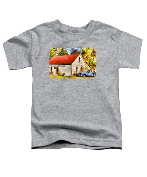 Toddler T-Shirt featuring the painting Door County Gus Klenke Garage by Christopher Arndt