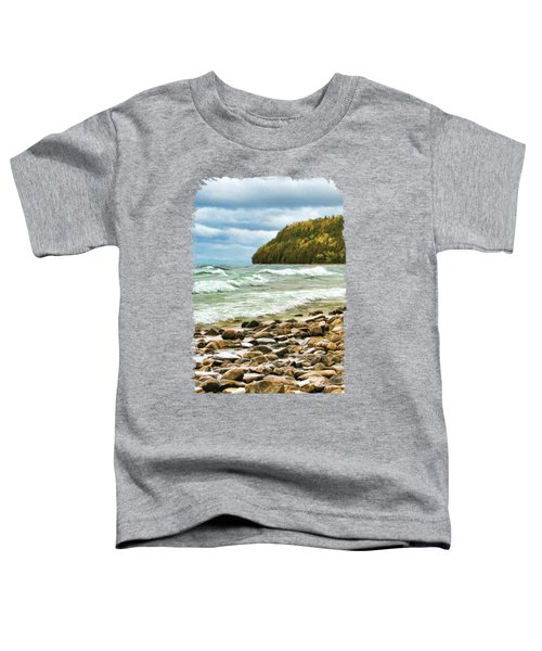 Toddler T-Shirt featuring the painting Door County Porcupine Bay Waves by Christopher Arndt