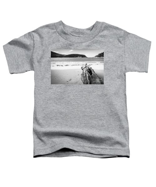 Driftwood On Beach Black And White Toddler T-Shirt