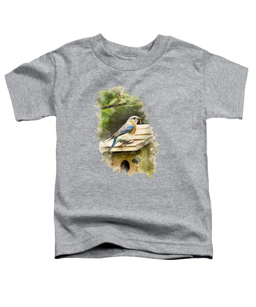 Eastern Bluebird Watercolor Art Toddler T-Shirt