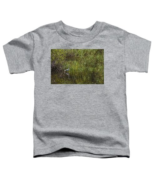 Egret Hunting In Reeds Toddler T-Shirt