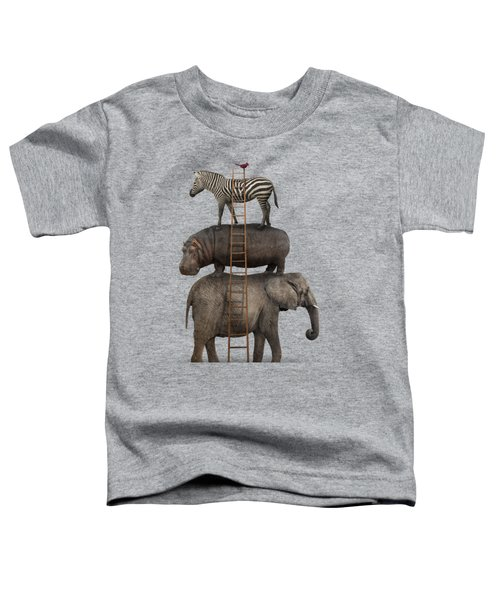 Elephant, Hippo, Zebra Animal Stack With A Cardinal Toddler T-Shirt by Greg Noblin