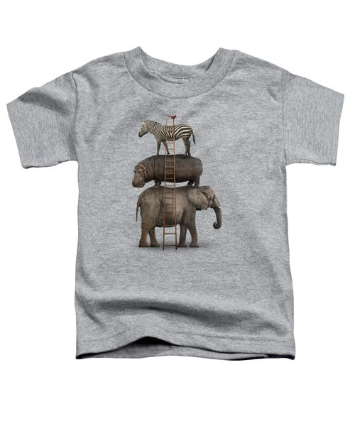 Elephant, Hippo, Zebra Animal Stack With A Cardinal Toddler T-Shirt