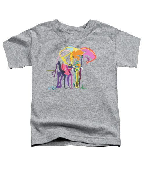 Toddler T-Shirt featuring the painting Elephant In Color Ecru by Go Van Kampen