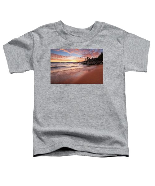 Fading Sunset Waves At Sand Harbor Toddler T-Shirt