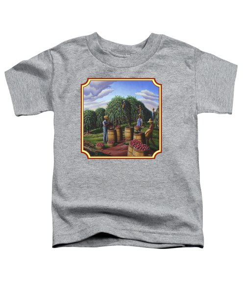 Farm Americana - Autumn Apple Harvest Country Landscape - Square Format Toddler T-Shirt by Walt Curlee
