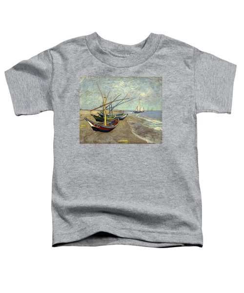 Toddler T-Shirt featuring the painting Fishing Boats On The Beach by Van Gogh