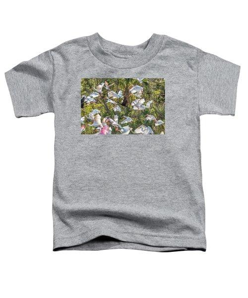 Flock Of Mixed Birds Taking Off Toddler T-Shirt