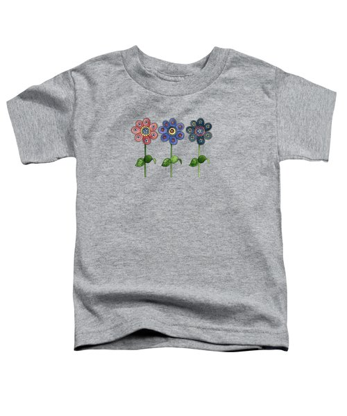 Flower Row On Purple Toddler T-Shirt
