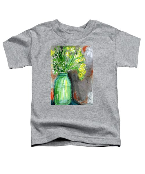 Flowers In A Green Jar- Art By Linda Woods Toddler T-Shirt