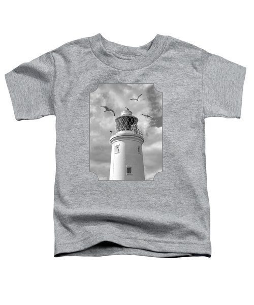 Fly Past - Seagulls Round Southwold Lighthouse In Black And White Toddler T-Shirt