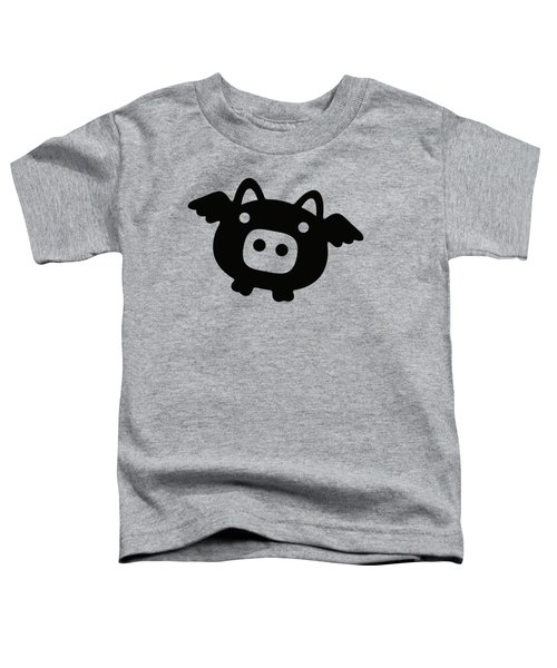 Flying Pig - Black Toddler T-Shirt
