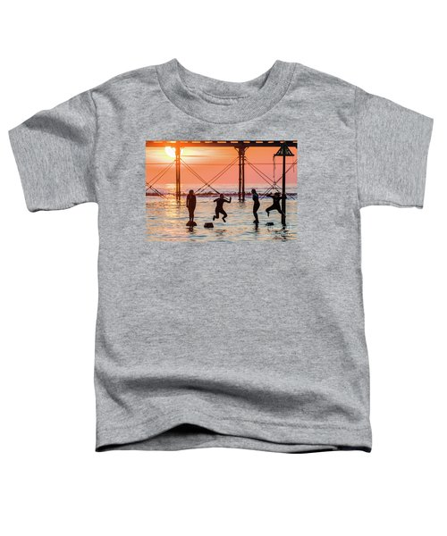 Four Girls Jumping Into The Sea At Sunset Toddler T-Shirt