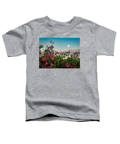 Toddler T-Shirt featuring the photograph Full Moon Sets Over Wild Irish Roses In County Clare by James Truett