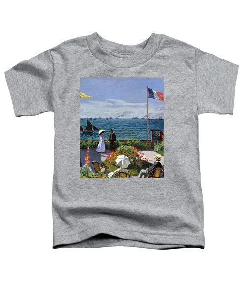 Toddler T-Shirt featuring the painting Garden At Sainte Adresse By Claude Monet by Claude Monet