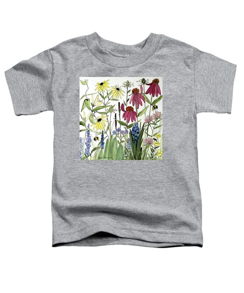 Garden Flowers With Bees Toddler T-Shirt