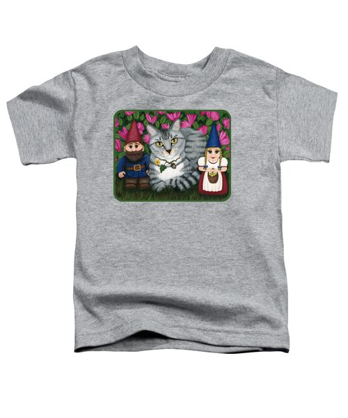 Garden Friends - Tabby Cat And Gnomes Toddler T-Shirt