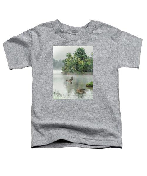 Geese On Misty Lake Toddler T-Shirt