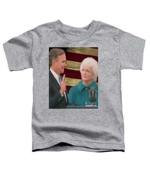 George Hw Bush Inauguration  Toddler T-Shirt by Jack Bunds