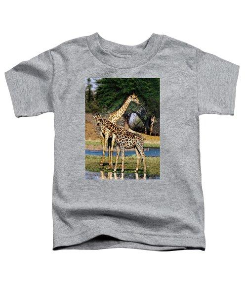 Giraffe Mother And Calf Toddler T-Shirt