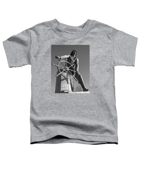 Gloucester Fisherman's Memorial Statue Black And White Toddler T-Shirt