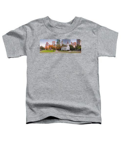 Golden Hour Fall Panorama Of Downtown Houston And St. John Church At Sam Houston Park - Texas Toddler T-Shirt