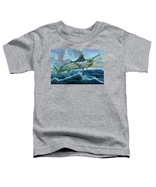 Grand Blue Marlin Jumping Eating Mahi Mahi Toddler T-Shirt